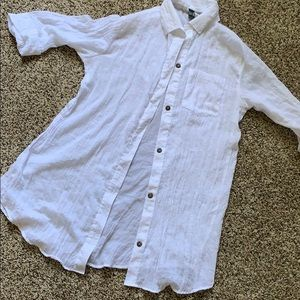 White Linen Shirt Bathing Suit Coverup